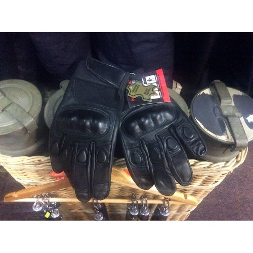 Gloves Black Leather / Nomex With Knuckle Protection