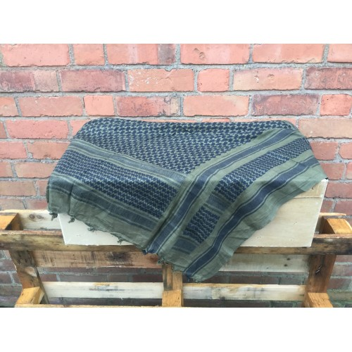 Shemaghs Woven Green On Black New